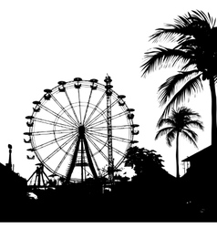Ferris wheel and palm tree vector image