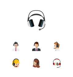 Flat call set of hotline earphone call center vector