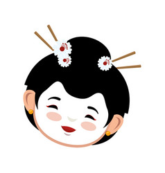 geisha japanese girl icon vector image