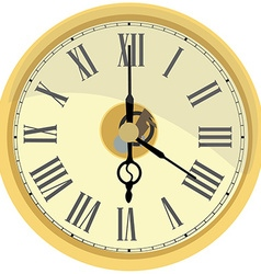 Golden wall clock vector image