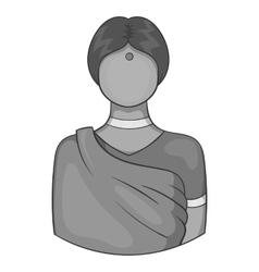 Indian female icon black monochrome style vector