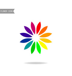 logo of the flower colors of the rainbow floral vector image