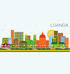luanda angola skyline with color buildings and vector image vector image
