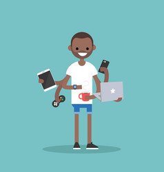 Multitasking millennial concept young black man vector