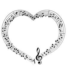 Musical theme frame frame in the shape of heart vector