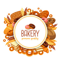 Pastry and bakery food for bakehouse badge vector