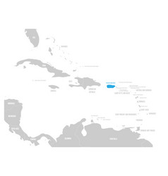 Puerto rico blue marked in the map of caribbean vector