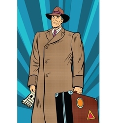 Retro man in cloak with suitcase vector