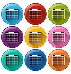 Round icons with phone calendar vector image