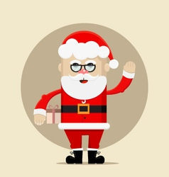 Santa Claus holding the gift and waving vector image vector image