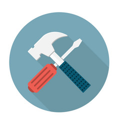 Screwdriver and hammer icon vector
