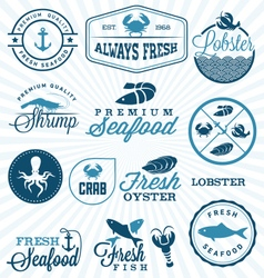Seafood restaurant labels badges and icons vector