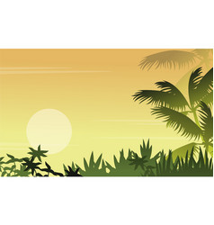 Silhouette of jungle with grass scenery vector