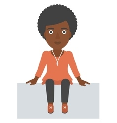 Smiling woman sitting vector