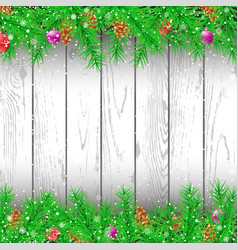 spruce branch white wood background vector image vector image
