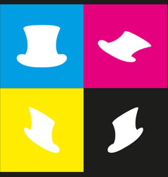 Top hat sign white icon with isometric vector