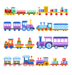 Toy train with kid toys flat icons for vector