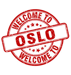 welcome to oslo red round vintage stamp vector image