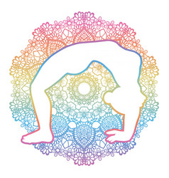 Women silhouette upward bow wheel yoga pose vector