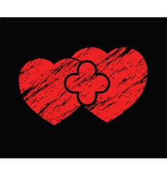 Two red grunge hearts vector