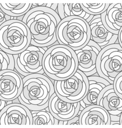Seamless pattern with outline decorative roses in vector