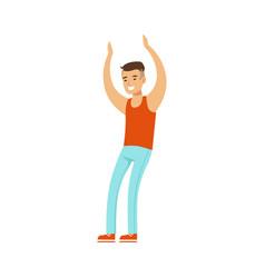 Asian guy in top and jeans dancing on dancefloor vector