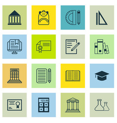 Set of 16 education icons includes haversack e vector