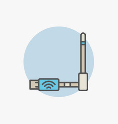 Wireless usb adapter colorful icon vector
