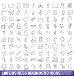 100 business diagnostic icons set outline style vector