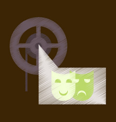 Flat icon in shading style film mask vector