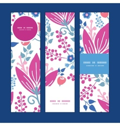 Pink flowers vertical banners set pattern vector