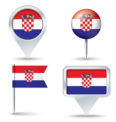 Map pins with flag of croatia vector