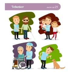 Young volunteer characters vector