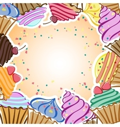 Cards with cupcakes vector