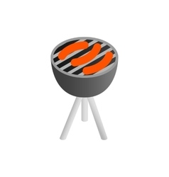 Sausages grilling over the coals on a barbecue vector