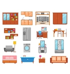 Furniture isolated icon set vector