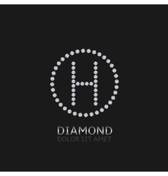 H letter with diamonds vector