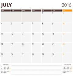 Calendar template for july 2016 week starts monday vector