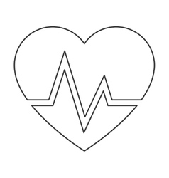 Heart and cardiogram icon vector