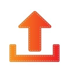 Upload sign  orange applique isolated vector