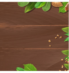 Brown background with wooden texture and ground vector