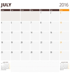 Calendar template for july 2016 week starts monday vector