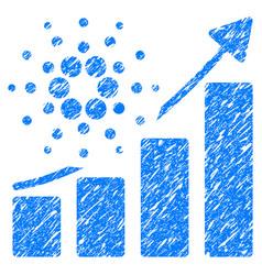 Cardano success chart icon grunge watermark vector