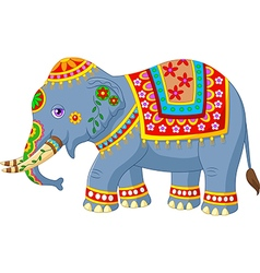 Cartoon elephant with indian classic traditional vector