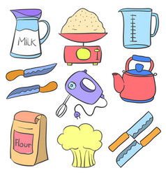 Collection of equipment kitchen doodles vector