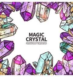 Crystals hand drawn vector