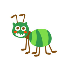 cute cartoon green ant colorful character vector image vector image