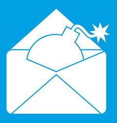 Envelope with bomb icon white vector