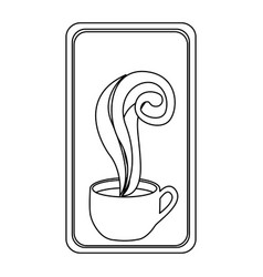 figure long squard symbol of coffee cup vector image