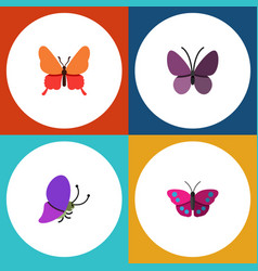 Flat butterfly set of summer insect danaus vector